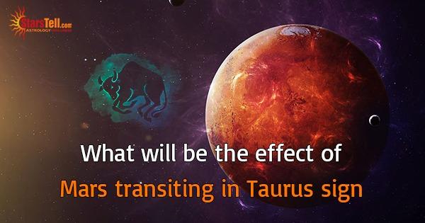 Mars transiting in Taurus sign