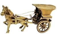 Starstell, Brass Figure, Brass Horse Cart, Brass Horse Statue, Starstell Brass Single Horse Cart Decorative Showpiece - 13 cm