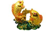 Starstell, Feng Shui Fish,Starstell Fengshui Vastu 3 Inch Colourful Double Fish Showpiece for Victory & Success