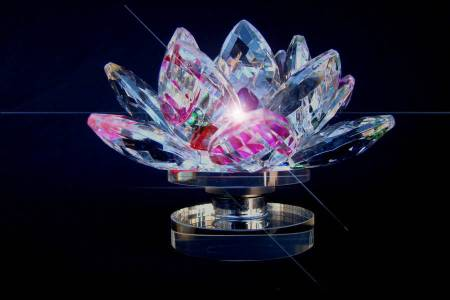 Starstell, Vastu, Feng Shui, Crystal Lotus Flower, Multi Colour Crystal Lotus Flower, Starstell Vastu Feng Shui Multi Colour Crystal Lotus Flower with Base, Multi Color Crystal Lotus Flower