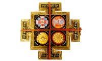 Maha Lakshmi Chowki, Maha Laxmi Chowki, Starstell Brass Made Shri Maha Lakshmi Chowki with Yantra - 6 cm