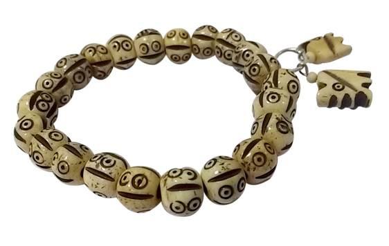Starstell, Bone Bracelet, Evil Eye Bracelet, Smiling Face Bracelet, Starstell White Color Smiling Face Carved Bone Bracelet with Hanging Elephants (Beads Size: 8mm)